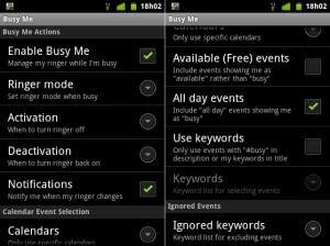 Tela de configuração do App Busy Me.
